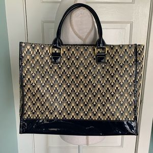 Estée Lauder Blue & Cream Weave Open Tote Bag